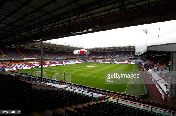 General view inside the stadium ahead of the Premier League match between Burnley FC and Wolverhampton Wanderers at Turf Moor on July 15, 2020 in...