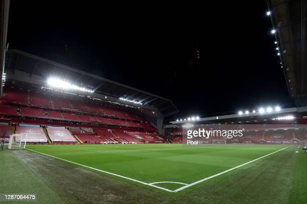 General view inside the stadium ahead of the Premier League match between Liverpool and Leicester City at Anfield on November 22, 2020 in Liverpool,...