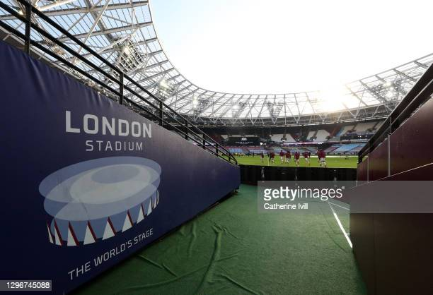 General view inside the stadium ahead of the Premier League match between West Ham United and Burnley at London Stadium on January 16, 2021 in...