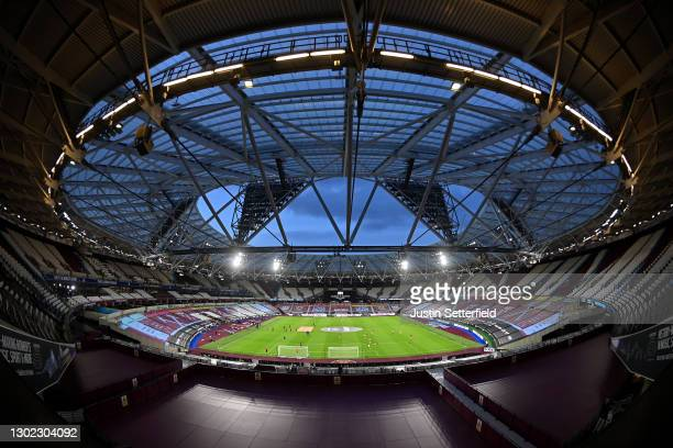 General view inside the stadium ahead of the Premier League match between West Ham United and Sheffield United at London Stadium on February 15, 2021...