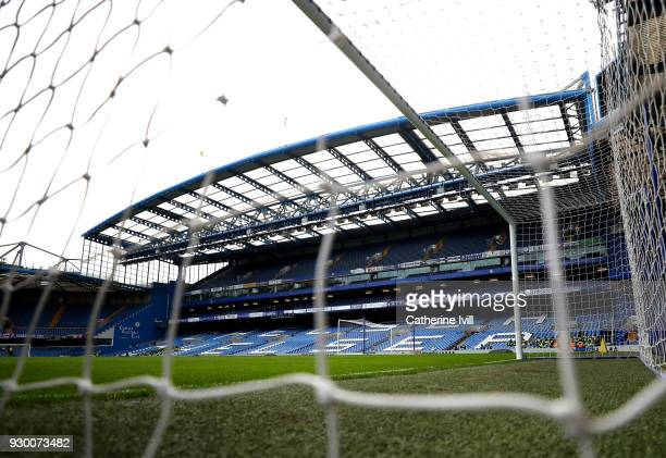 General view inside the stadium ahead of the Premier League match between Chelsea and Crystal Palace at Stamford Bridge on March 10 2018 in London...