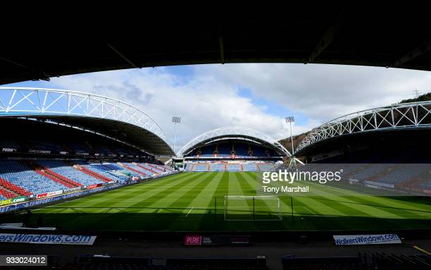 General view inside the stadium ahead of the Premier League match between Huddersfield Town and Crystal Palace at John Smith's Stadium on March 17...