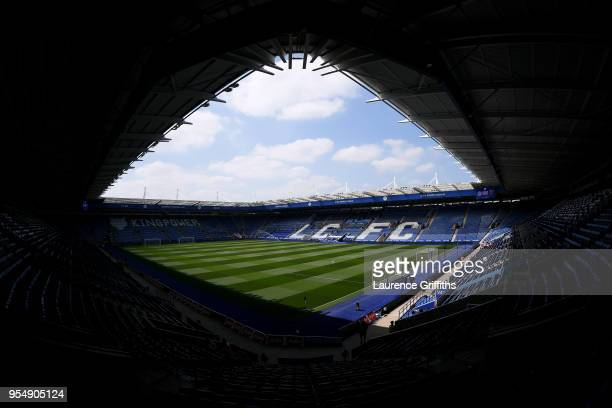 General view inside the stadium ahead of the Premier League match between Leicester City and West Ham United at The King Power Stadium on May 5 2018...