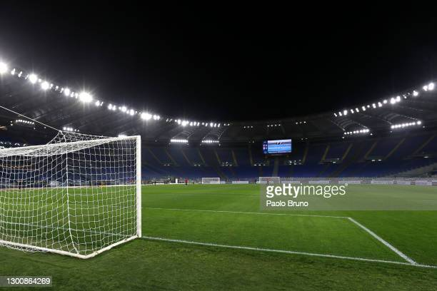 General view inside the stadium ahead of the Serie A match between SS Lazio and Cagliari Calcio at Stadio Olimpico on February 07, 2021 in Rome,...