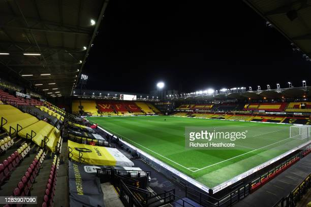 General view inside the stadium ahead of the Sky Bet Championship match between Watford and Stoke City at Vicarage Road on November 04, 2020 in...