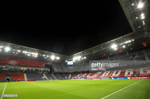 General view inside the stadium ahead of the UEFA Champions League Group A stage match between RB Salzburg and Atletico Madrid at Red Bull Arena on...
