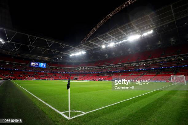 General view inside the stadium ahead of the UEFA Champions League Group B match between Tottenham Hotspur and FC Internazionale at Wembley Stadium...