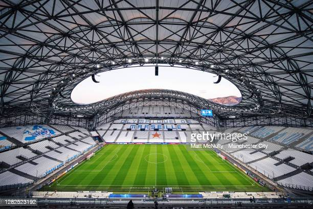General view inside the stadium ahead of the UEFA Champions League Group C stage match between Olympique de Marseille and Manchester City at Stade...
