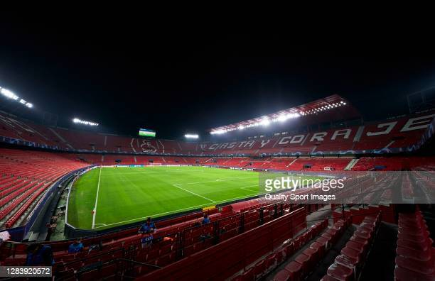 General view inside the stadium ahead of the UEFA Champions League Group E stage match between FC Sevilla and FC Krasnodar at Estadio Ramon Sanchez...
