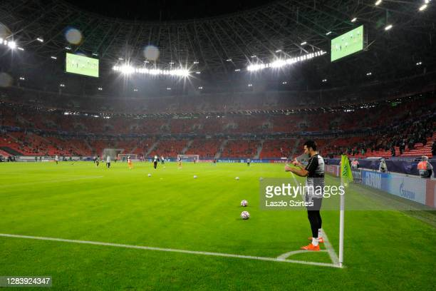 General view inside the stadium ahead of the UEFA Champions League Group G stage match between Ferencvaros Budapest and Juventus at Groupama Arena on...