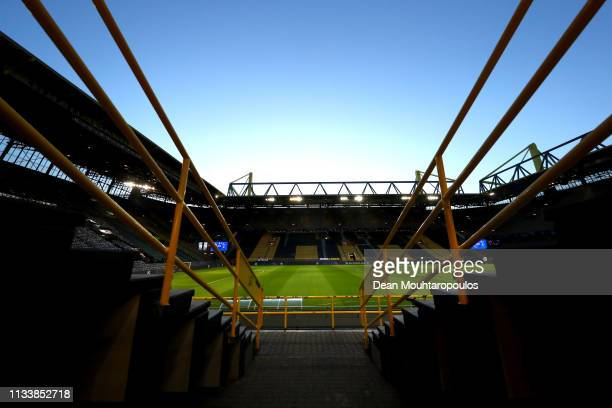 A general view inside the stadium ahead of the UEFA Champions League Round of 16 Second Leg match between Borussia Dortmund and Tottenham Hotspur at...