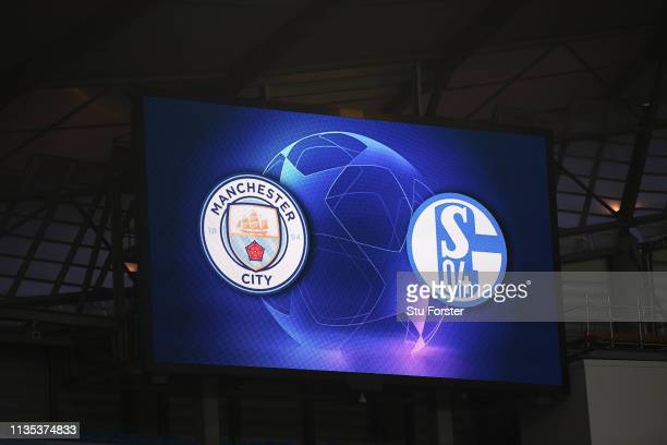 General view inside the stadium ahead of the UEFA Champions League Round of 16 Second Leg match between Manchester City v FC Schalke 04 at Etihad...