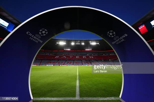 General view inside the stadium ahead of the UEFA Champions League Round of 16 Second Leg match between FC Bayern Muenchen and Liverpool at Allianz...