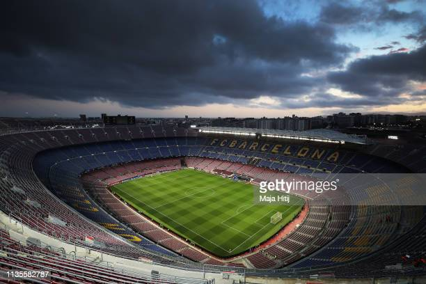 General view inside the stadium ahead of the UEFA Champions League Round of 16 Second Leg match between FC Barcelona and Olympique Lyonnais at Nou...