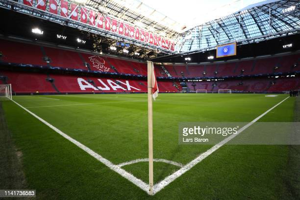 A general view inside the stadium ahead of the UEFA Champions League Quarter Final first leg match between Ajax and Juventus at Johan Cruyff Arena on...