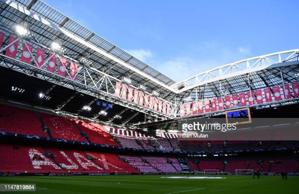 General view inside the stadium ahead of the UEFA Champions League Semi Final second leg match between Ajax and Tottenham Hotspur at the Johan Cruyff...