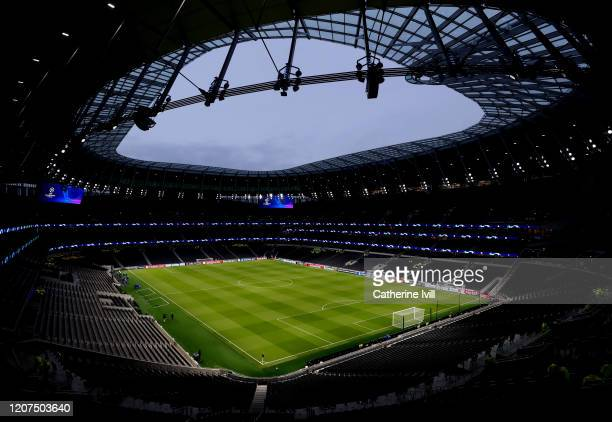 General view inside the stadium ahead of the UEFA Champions League round of 16 first leg match between Tottenham Hotspur and RB Leipzig at Tottenham...
