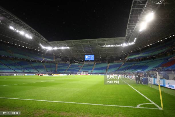 General view inside the stadium ahead of the UEFA Champions League round of 16 second leg match between RB Leipzig and Tottenham Hotspur at Red Bull...