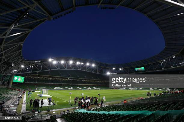 General view inside the stadium ahead of the UEFA Euro 2020 qualifier between Republic of Ireland and Denmark at Dublin Arena on November 18, 2019 in...
