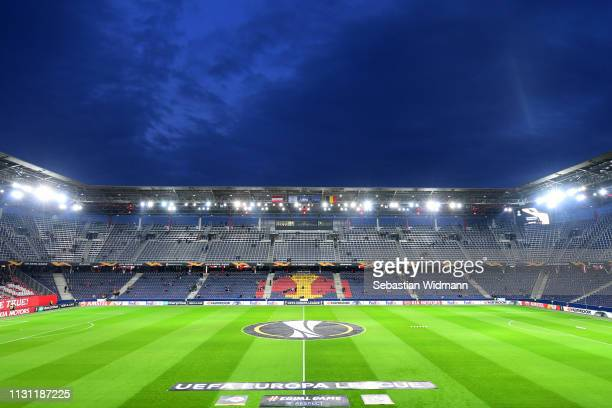 General view inside the stadium ahead of the UEFA Europa League Round of 32 Second Leg match between RB Salzburg and Club Brugge at Red Bull Arena on...