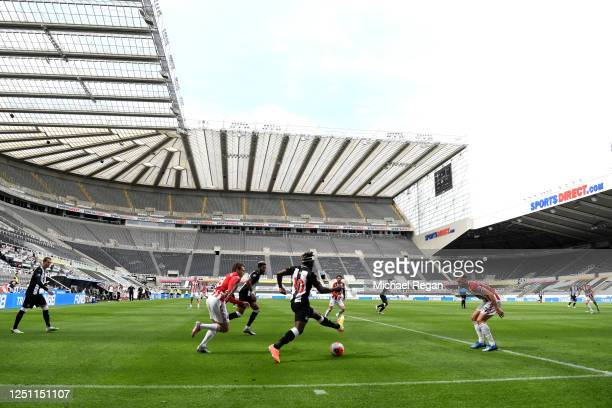 General view inside the stadium Allan Saint-Maximin of Newcastle United controls the ball during the Premier League match between Newcastle United...