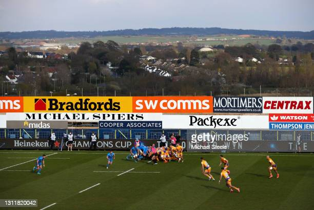 General view inside the stadium and surrounding area during the Heineken Champions Cup Quarter Final match between Exeter Chiefs and Leinster at...