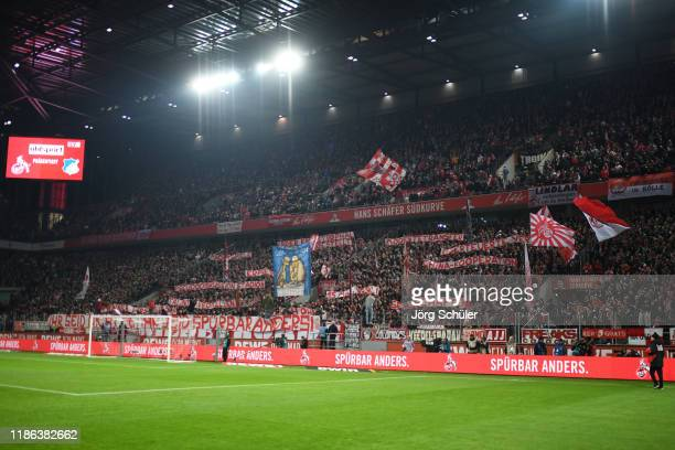 General view inside the stadium as 1 FC Koeln fans display a banner in protest of 1 FC Koeln Manager Alexander Wehrle and 1 FC Koeln Sporting...