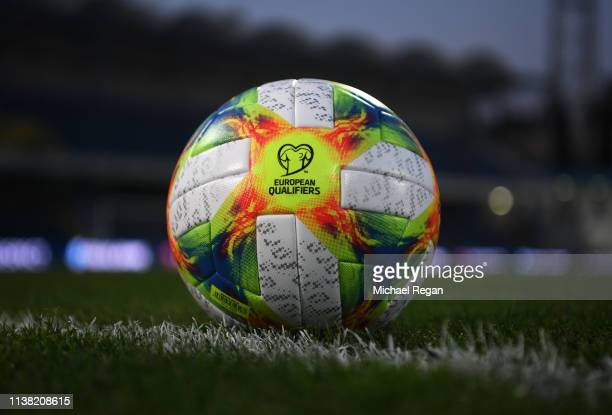 General view inside the stadium as a ball sits on the turf prior to the 2020 UEFA European Championships Group A qualifying match between Montenegro...