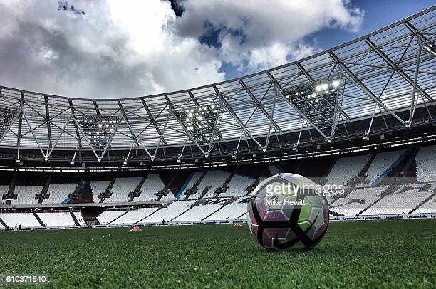 A general view inside the stadium as a ball sits on the turf prior to he Premier League match between West Ham United and Southampton at London...