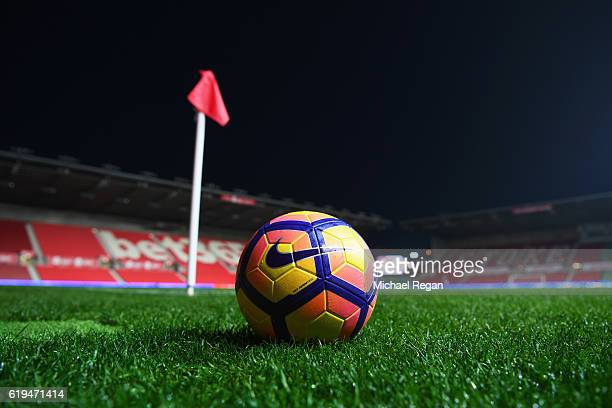 A general view inside the stadium as a ball sits pitch side prior to the Premier League match between Stoke City and Swansea City at Bet365 Stadium...