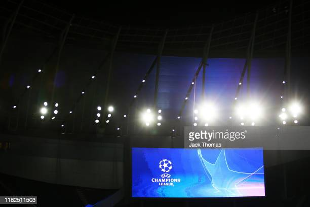 General view inside the stadium as a big screen shows the Champions League logo during a Red Star Belgrade Training Session ahead of the UEFA...