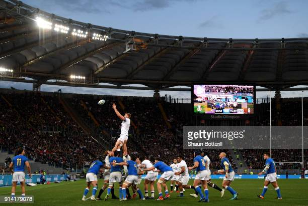 General view inside the stadium as a line out is taken during the NatWest Six Nations round One match between Italy and Engalnd at Stadio Olimpico on...
