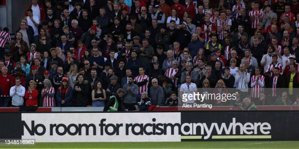 General view inside the stadium as a No Room for Racism banner is seen during the Premier League match between Brentford and Leicester City at...