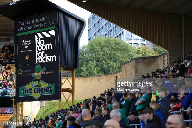 General view inside the stadium as a No Room for Racism message is shown on the big screen prior to the Premier League match between Chelsea FC and...