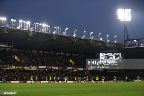 General view inside the stadium as a picture in memory of former manager Graham Taylor is seen on the led board during the Premier League match...
