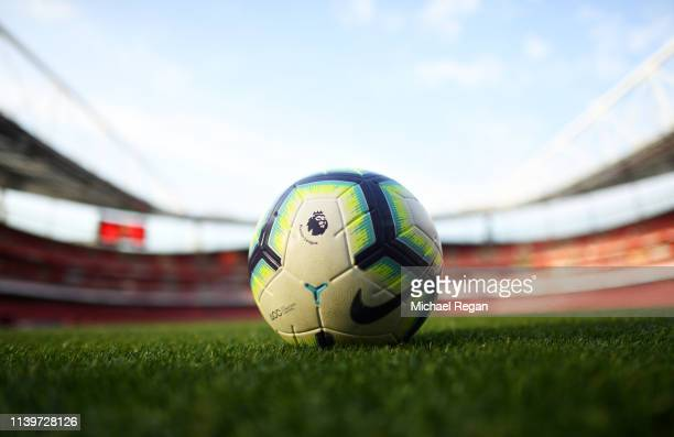 General view inside the stadium as a practice ball sit on the turf prior to the Premier League match between Arsenal FC and Newcastle United at...