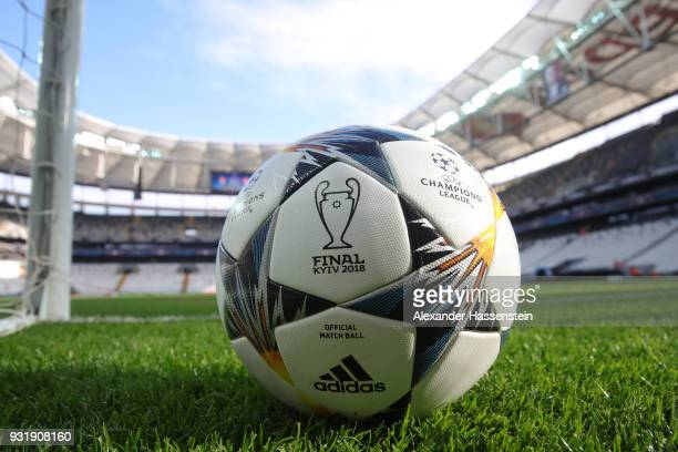 A general view inside the stadium as a practice ball sits on the turf prior to during the UEFA Champions League Round of 16 Second Leg match Besiktas...