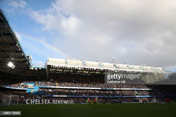 General view inside the stadium as a rainbow can be seen overhead prior to the Premier League match between Chelsea FC and Everton FC at Stamford...