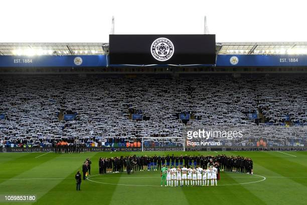 General view inside the stadium as a silence is observed in memory of Leicester City chairman Vichai Srivaddhanaprabha prior to the Premier League...