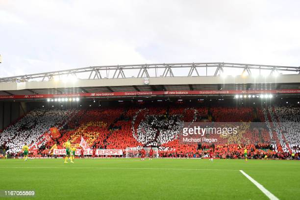 General view inside the stadium as a TIFO display is shown in the Kop during the Premier League match between Liverpool FC and Norwich City at...