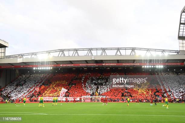 A general view inside the stadium as a TIFO display is shown in the Kop during the Premier League match between Liverpool FC and Norwich City at...