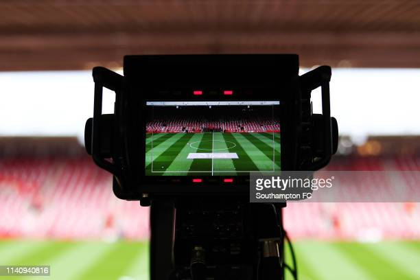 General view inside the stadium as a TV camera is showing the pitch ahead of the Premier League match between Southampton FC and Liverpool FC at St...