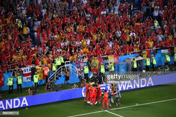 General view inside the stadium as Adnan Januzaj of Belgium celebrates with teammates after scoring his team's first goal during the 2018 FIFA World...