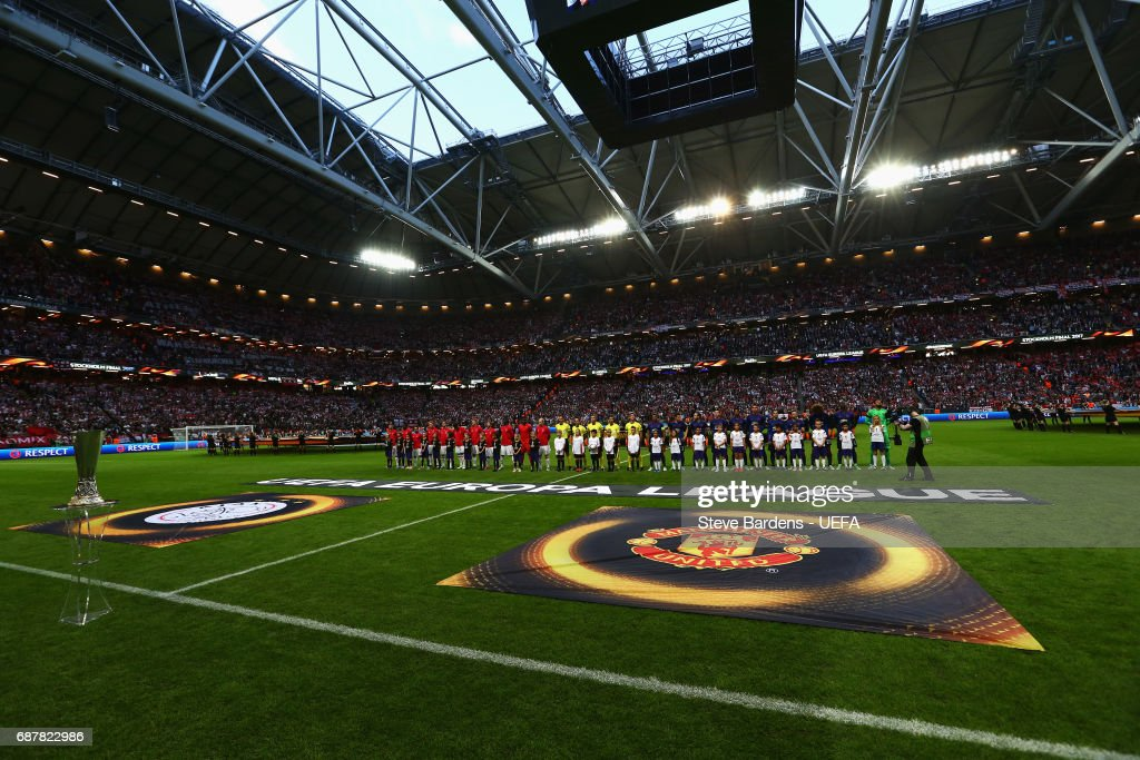 General view inside the stadium as Ajax and Manchester United line up prior to the UEFA Europa League Final between Ajax and Manchester United at Friends Arena on May 24, 2017 in Stockholm, Sweden.