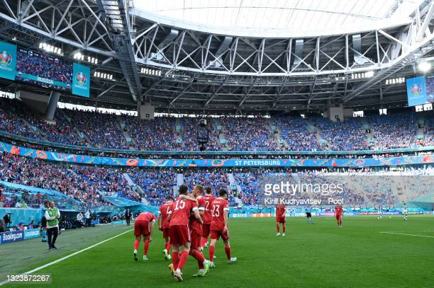 General view inside the stadium as Aleksei Miranchuk of Russia celebrates with team mates after scoring their side's first goal during the UEFA Euro...