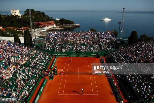 General view inside the stadium as Alexander Zverev Jr. Of Germany plays against Kei Nishikori of Japan in their men's Semi-Final match during day...
