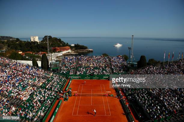 General view inside the stadium as Alexander Zverev Jr of Germany plays against Kei Nishikori of Japan in their men's SemiFinal match during day...