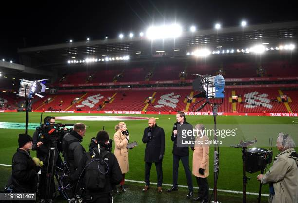 General view inside the stadium as Amazon Prime TV presenters Gabby Logan, Thierry Henry, Peter Crouch and Roberto Martinez speak prior to the...