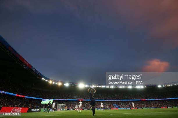 General view inside the stadium as Amel Majri of France takes a throw in during the 2019 FIFA Women's World Cup France Quarter Final match between...