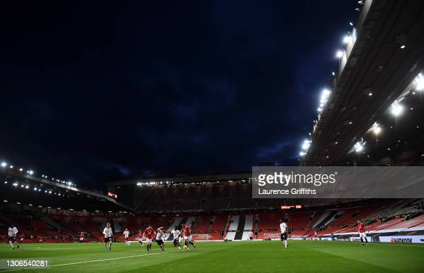 General view inside the stadium as Anthony Martial of Manchester United runs with the ball during the UEFA Europa League Round of 16 First Leg match...